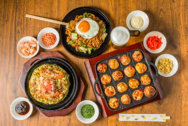 Takoyaki Tisch gedeckt